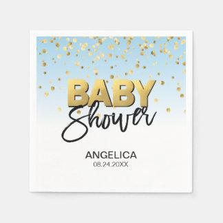 Personalized Blue Boy Gold Confetti Baby Shower Napkin