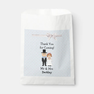 Personalized Blue Bride & Groom Candy Bags