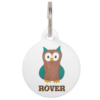 Personalized Blue Brown Cartoon Owl Bird Pet Tag