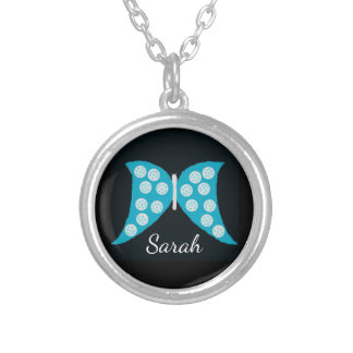 Personalized Blue Butterfly on Black Silver Plated Necklace