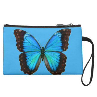 Personalized Blue Butterfly Wristlet