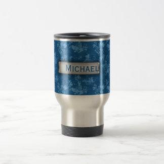 Personalized Blue Camo Pattern Travel Mug