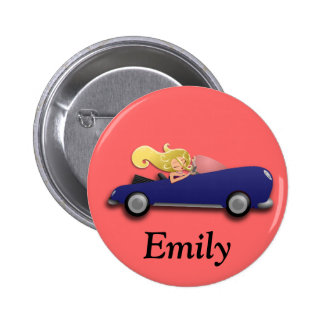 Personalized Blue Car and Girl Button