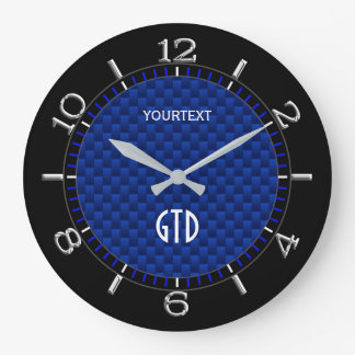 Personalized Blue Carbon Fiber Like Print Large Clock