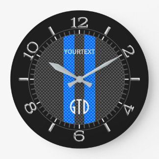 Personalized Blue Carbon Style Racing Stripes on a Large Clock