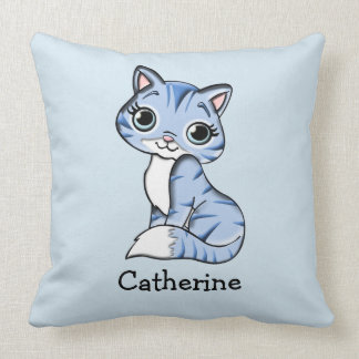 Personalized Blue Cat with Big Expressive Eyes Throw Pillow