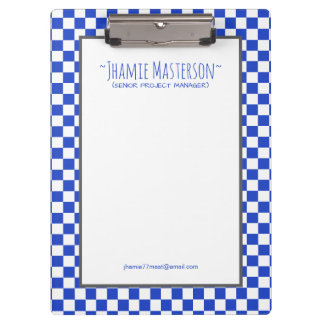 Personalized Blue Chequered Clipboard