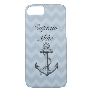 Personalized Blue Chevron Nautical Anchor iPhone 7 Case