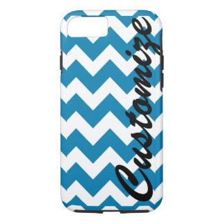 Personalized Blue Chevron Pattern iPhone 7 Case