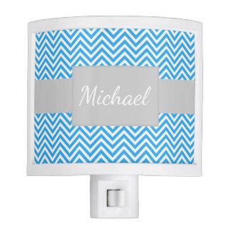Personalized Blue Chevron Striped Night Light