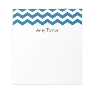 Personalized Blue Chevron Stripes Memo Pad