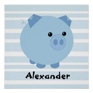 Personalized Blue Chubby Pig Poster