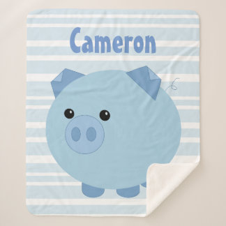 Personalized Blue Chubby Pig Sherpa Blanket