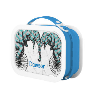 Personalized Blue Circus Elephant  Bicycle Lunch Box