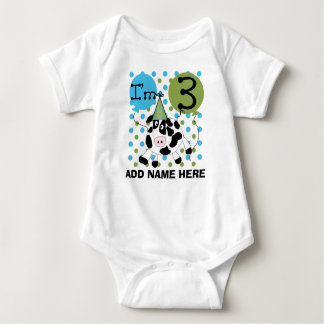 Personalized Blue Cow 3rd Birthday Tshirt
