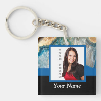 Personalized blue crystal template keychain