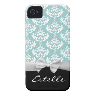 Personalized Blue damask with white ribbon iPhone 4 Case