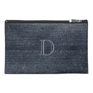 Personalized Blue Denim  Look Monogrammed Bag Travel Accessory Bag