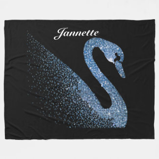 Personalized Blue Diamond Swan Fleece Blanket