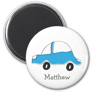 Personalized blue doodle car baby gifts magnet