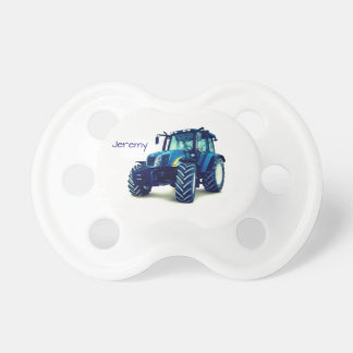 Personalized Blue Farm Tractor Pacifier
