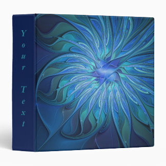 Personalized Blue Flower Fantasy Pattern Abstract Vinyl Binders