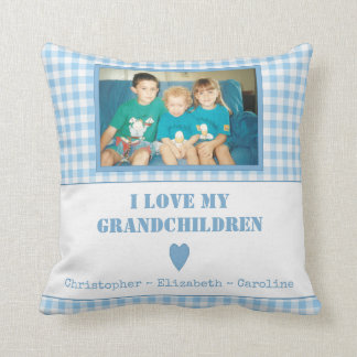Personalized blue gingham Photo Grandparents Throw Pillow