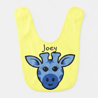 Personalized Blue Giraffe Baby Bib