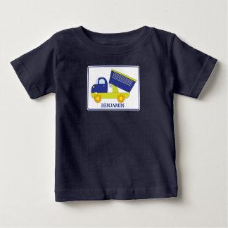 Personalized Blue & Green Construction Dump Truck Baby T-Shirt