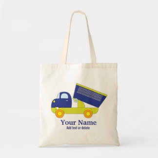Personalized Blue & Green Construction Dump Truck Tote Bag
