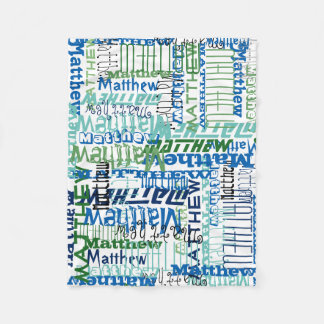 Personalized Blue/Green Custom Name Collage Boy's Fleece Blanket