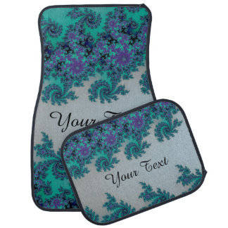 Personalized Blue Green Fractal Car Mats