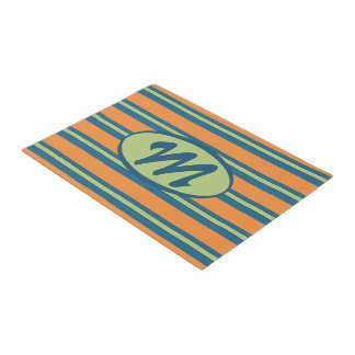 Personalized Blue, Green, Orange Striped Door Mat