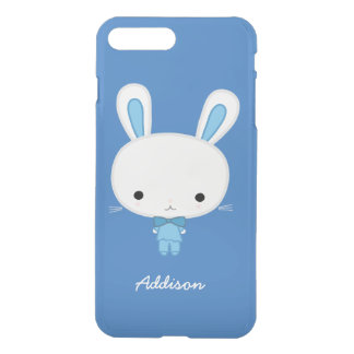 Personalized Blue Kawaii Bunny Clear iPhone7 Case