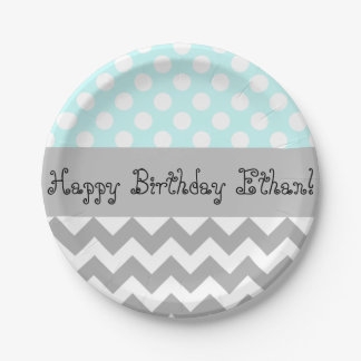Personalized Blue Kids Party Plates