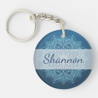 Personalized Blue Mandala Key chain