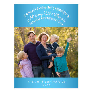 Personalized Blue Merry Christmas Photo Postcards