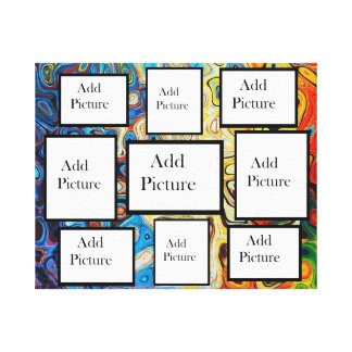 Personalized Blue Modern Background Photo Collage Canvas Print