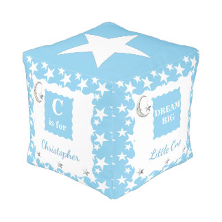 Personalized Blue moon and stars baby boy Pouf