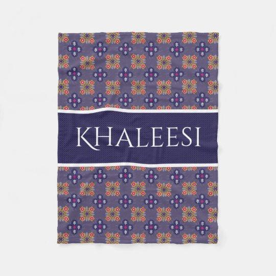 Personalized Blue Moroccan Fleece Blanket