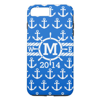 Personalized Blue Nautical Anchors Pattern iPhone 7 Plus Case
