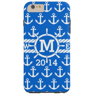 Personalized Blue Nautical Anchors Pattern Tough iPhone 6 Plus Case