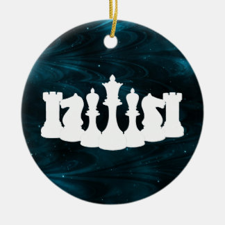 Personalized Blue Nebula Chess Ornament