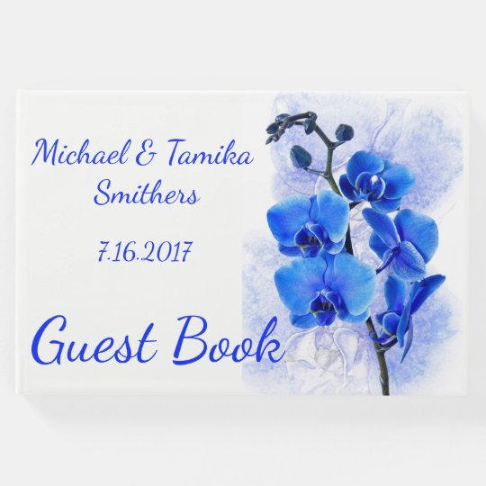 Personalized Blue Orchids Wedding Guest Book
