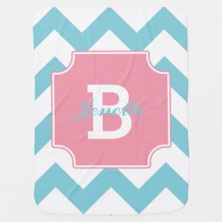 Personalized Blue Pink Chevron Pattern Baby Blanket