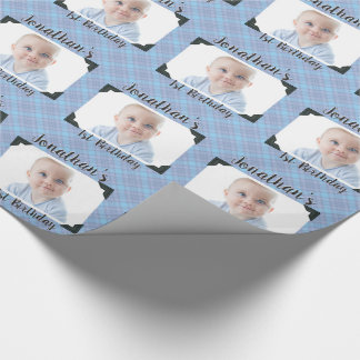 Personalized Blue Plaid Baby Birthday Photo Wrapping Paper