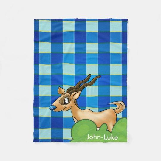 Personalized blue plaid gazelle Fleece Blanket
