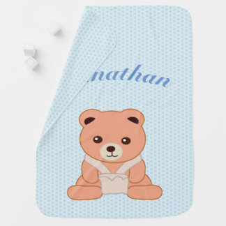 Personalized Blue Polka Dot Baby Bear Baby Blanket