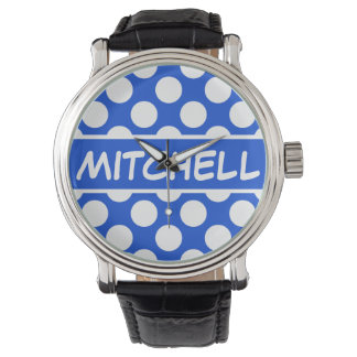 Personalized Blue Polka Dot CP Watch