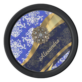 Personalized blue pretty girly damask pattern poker chip set